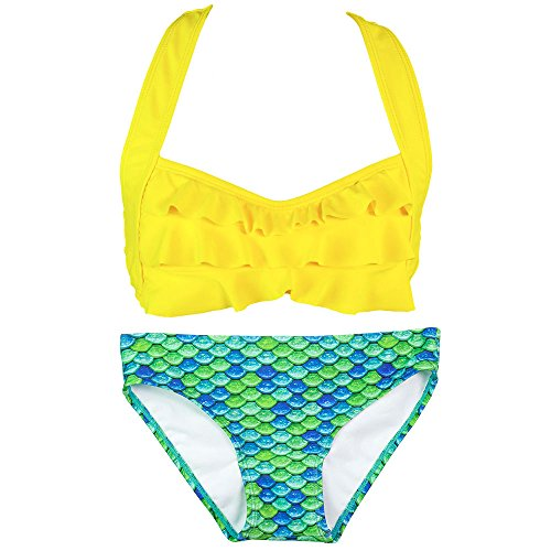 Fin Fun Mermaid Girls Sea Wave Bikini Set, Yellow Top, Aussie Green Bottom, (Aussie Bikini)