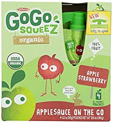Gogo Squeez Organic Apple Applesauce Go, Strawberry, 4 Ct