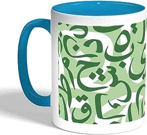 كوب سيراميك للقهوة بطبعة احرف مبعثرة، لون احمر
