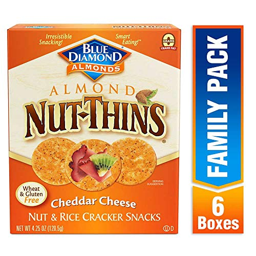 Blue Diamond Almond Nut Thins Cracker Crisps, Cheddar Cheese, 4.25 Ounce (Pack of 6) ()