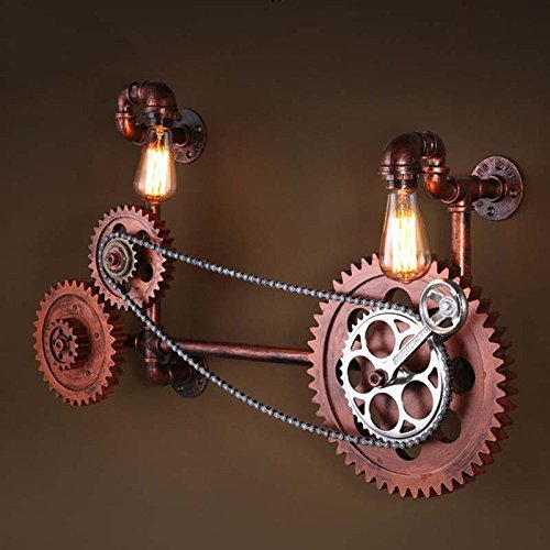 HOMEE Wall lamp- loft retro industrial wind axle water pipe iron wall lamp restaurant bar creative cafe aisle wall lamp --wall lighting decorations by HOMEE