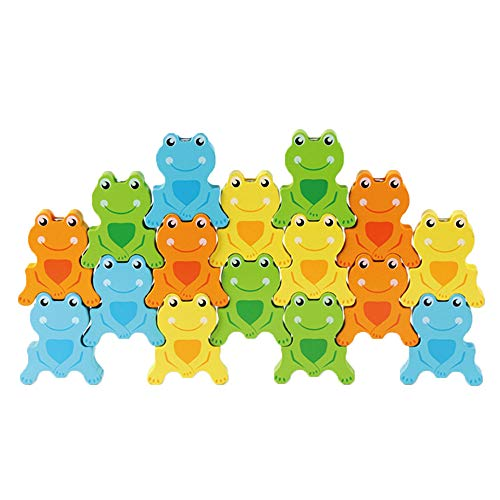 Loneflash Frog Building Blocks, Wooden Education Toys for Children,Puzzle Tabletop Hybrid Family Stacking Game for Ages 3+ Kids Toddlers Boys Girls ()
