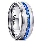 King Will GEM Men Women 8mm Titanium Engagement Ring Wedding Band Blue Simulated Sapphire Cubic Zirconia(7.5)