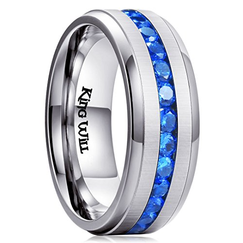 King Will GEM Men Women 8mm Titanium Engagement Ring Wedding Band Blue Simulated Sapphire Cubic ()