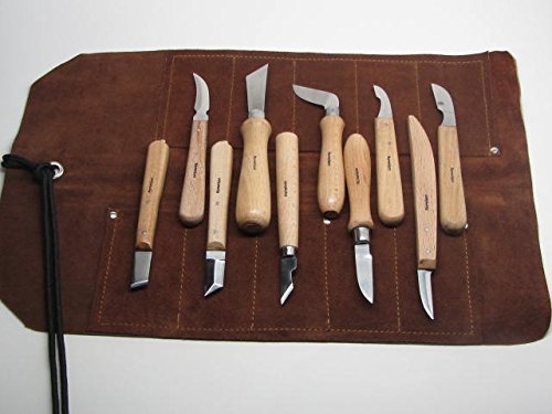10 Wood Chip Wood Carving Knives with 10 Pocket Leather Roll by UJ Ramelson Co (Image #3)