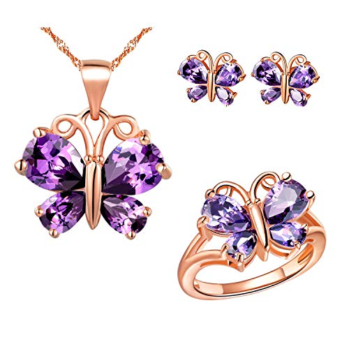 Uloveido White Gold Plated Teardrop Purple Stone Butterfly Earrings Necklace Pendant and Charm Anniversary Rings Jewelry Set for Bridal Women T234