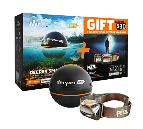 Deeper Smart Sonar PRO+ Special Bundle Offer – GPS Portable Wireless Wi-Fi Fish Finder & FREE GIFT Petzl Tikka Headlamp by Deeper