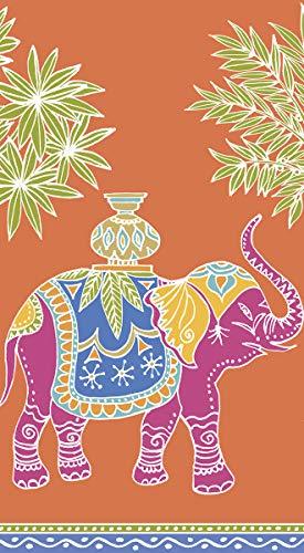 Caspari Disposable Hand Towels, Decorative Paper Guest Towels for Bathroom or Paper Napkins Dinner Napkins Safari Jungle Royal Elephant Orange Pak ()