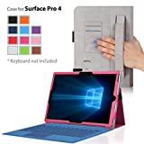 Surface pro 4 Case, IVSO® Microsoft Surface pro 4 Leather Keyboard Portfolio Stand Cover Case-Will Only fit Microsoft Surface pro 4 Tablet (Pink)
