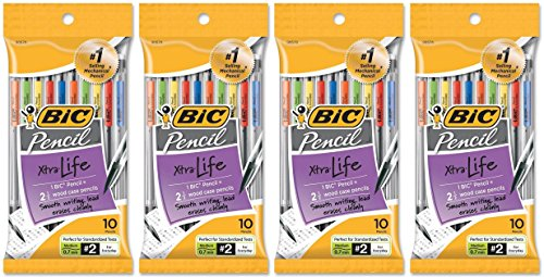 BIC BC27671 Pencil Xtra Life, Medium Point (0.7 mm), Total 40 Pencils (4 X 10 Count Packages)
