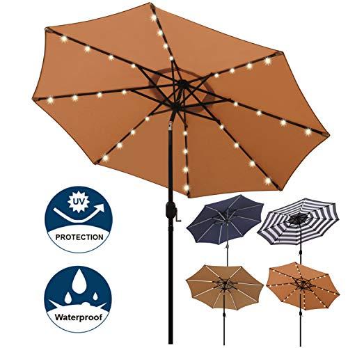 Blissun 9 ft Solar Umbrella 32 LED Lighted Patio Umbrella Table Market Umbrella with Tilt and Crank Outdoor Umbrella for Garden, Deck, Backyard, Pool and Beach (Tan)