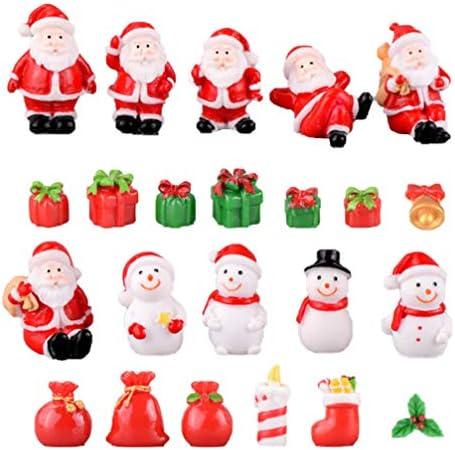 BESPORTBLE 23 Pezzi Giardino Fatato Accessori Natalizi Ornamenti Natalizi in Miniatura Figurine Natalizie Fai-da-Te per Casa delle Bambole Festa di Natale