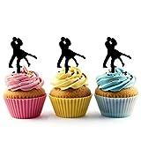 TA0548 Couple Tango Dance Silhouette Party Wedding Birthday Acrylic Cupcake Toppers Decor 10 pcs
