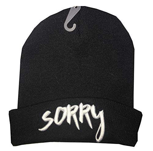 Justin Bieber Official Beanie Knit Hat - Variations Include Sorry or Love Yourself (Sorry - Black)