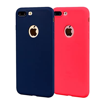 Funda iPhone 8 Plus, Carcasa iPhone 8 Plus Silicona Gel, OUJD Mate Case Ultra Delgado TPU Goma Flexible Cover para iPhone 8 Plus - Azul + rojo