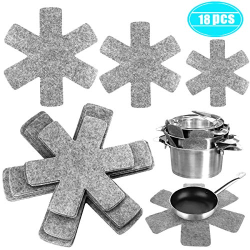 Twdrer 18 Pack 3 Different Sizes Grey Pots and Pans Cookware Divider Protectors Pads Separator Avoid Scratching and Marring