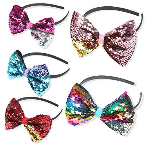 Hixixi 5pcs Women Girls Rainbows Glitter Reversible 5