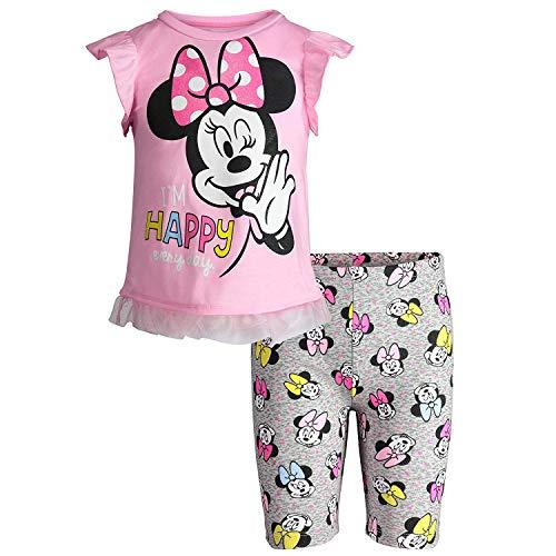Disney (89E6850MI) Minnie Mouse Little Girls' T-Shirt & Bike Shorts Set in Light Pink, 6 ()