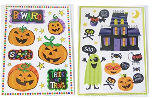 Halloween Static Clings Window Glass Stickers 2 Pack (Beware Pumpkins Haunted House)]()