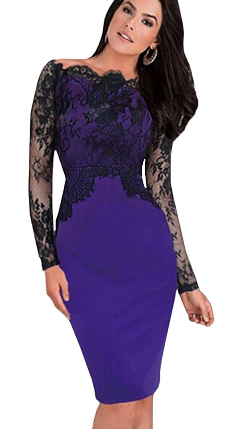 Unomatch Women's Lace Design Neck Full Sleeves Dress Navy Blue
