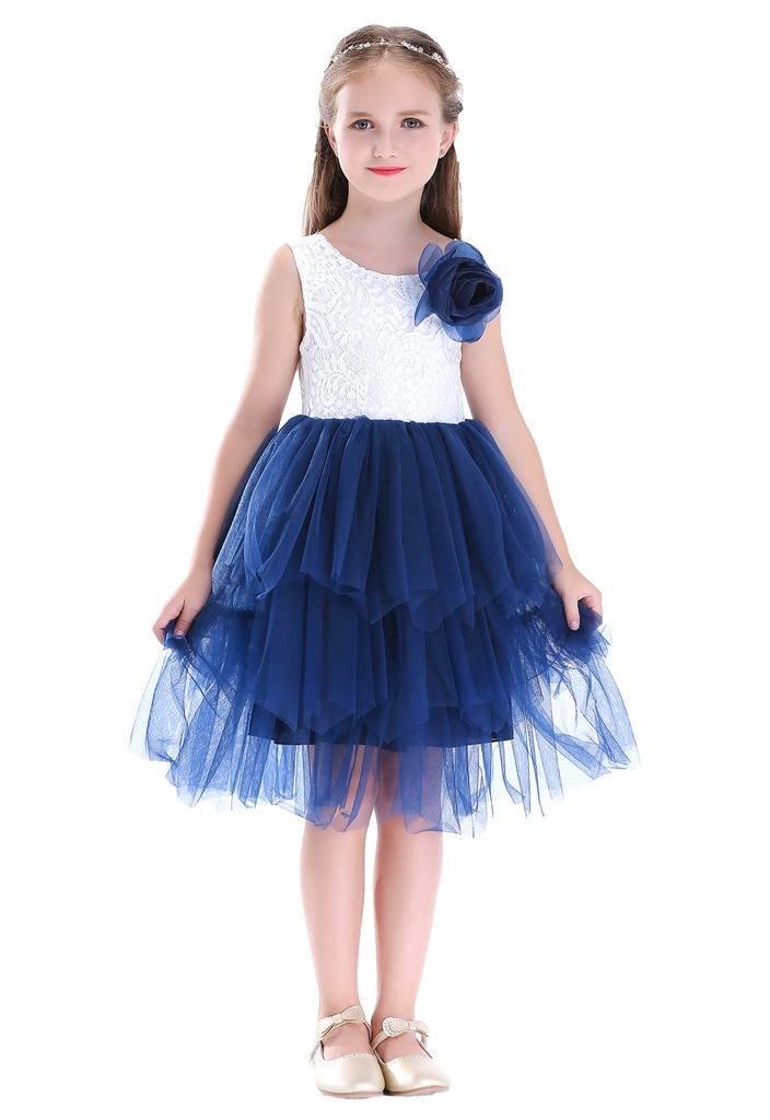 Bow Dream Girl Baby Girl Beaded Backless Lace Back Tutu Tulle Party Flower Girl Dress Navy 4