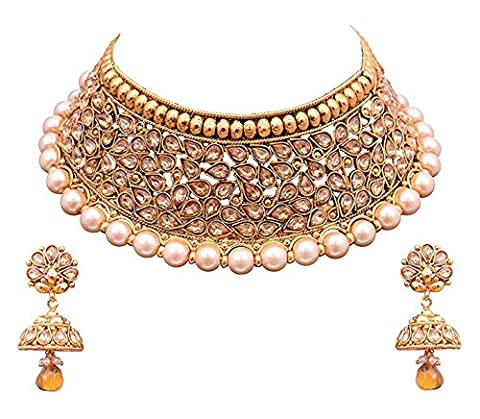YouBella Jewellery Bollywood Ethnic Gold Plated Traditional Indian Necklace Set with Earrings for - Jewelry
