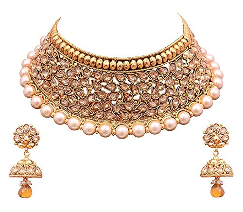 Gold Plated Necklace Earrings Set Indian Traditional: YouBella Jewellery Bollywood Ethnic Gold Plated