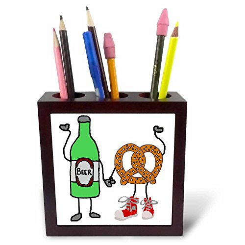 3dRose All Smiles Art Funny - Funny Cute Beer and Pretzel Cartoon Characters Art - 5 inch tile pen holder (ph_263675_1)