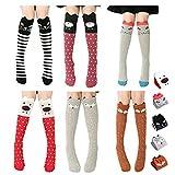 BAD POLE&JEDI TYPE Girls Socks 6 Pairs Animal Cat Fox Socks High Socks