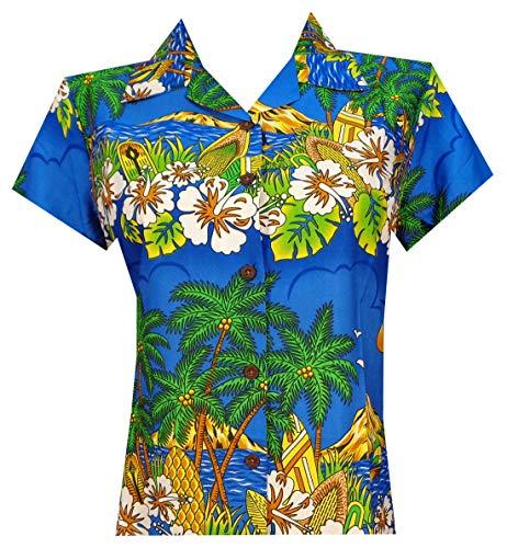Hawaiian Shirts 44W Womens Floral Scenic Beach Aloha Top Blouse Dark Blue S