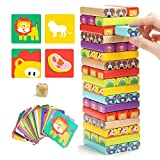 TOP BRIGHT Colored Wooden Blocks Stacking Board Games Kids Ages 4-8 51 Pieces