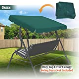 BenefitUSA Outdoor Patio Swing Canopy Replacement Porch Top Cover for Seat Furniture (77''x43'', Green)