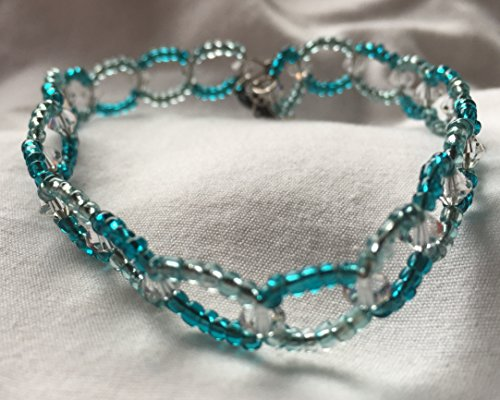 (Dark and Light Teal Seed Bead and Clear Swarovski Crystal Circular Bracelet 8 Inch)
