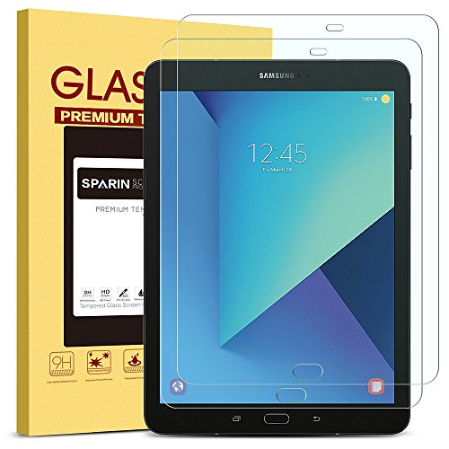 ([2 Pack] SPARIN Galaxy Tab S3 / Galaxy Tab S2 9.7 Screen Protector - S Pen Compatible/Tempered Glass/Scratch Resistant/Bubble Free for Samsung Galaxy Tab S3 / Galaxy Tab S2 9.7 inch)