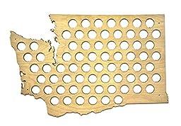All 50 States Beer Cap Maps - Washington Beer Cap Map WA - Glossy Wood - Skyline Workshop