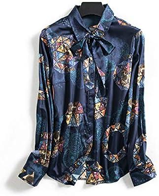 AIBAB Camisa De Seda De Las Solapas De Las Señoras Top De Seda Manga Larga con Serpentinas Camisa De Gasa: Amazon.es: Deportes y aire libre