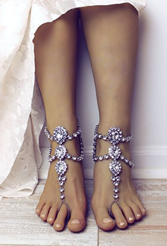Luna Silver Barefoot Sandals by Bare Sandals LLC
