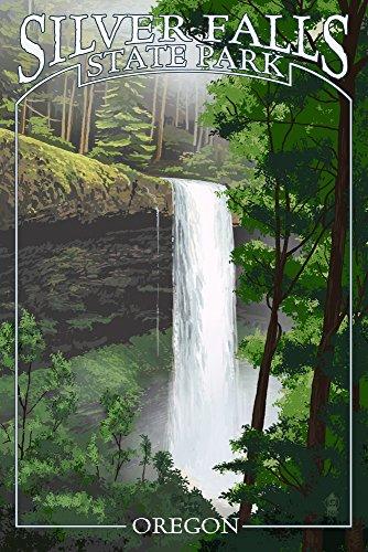 (Silver Falls State Park, Oregon - South Falls (9x12 Art Print, Wall Decor Travel Poster))