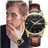 OLEVS Amazon Watch, Men's TOP 1 Watch,Men's Weekender&Calendar Black/Brown Strap,Mens Watches,Classic Casual Watch with Black/Blue/White Dial,Waterproof 30M