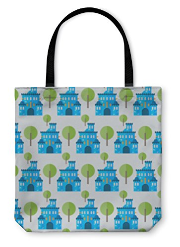 Gear New Shoulder Tote Hand Bag, Cartoon Blue Castle And Tree Pattern, 18x18, 5835538GN (Manor Gate Gate Manor)