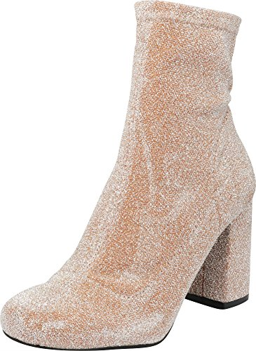 Cambridge Select Women's Closed Round Toe Stretch Fabric Sock Chunky Block Heel Ankle Bootie,7 B(M) US,Rose Gold Glitter