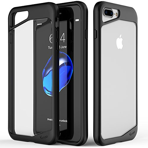 iPhone 7 Plus Case, Yesgo Clear Rugged Case Drop Protection Scratch Resistant Transparent Back Protective Cover for Apple iPhone 7 Plus (Black)