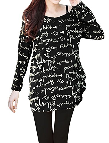 Allegra K Lady Long Sleeve Letter Pattern Pullover Knit Shirt Black S