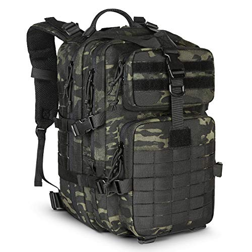 LeisonTac Tactical Backpack: Military Assault Pack | Extreme Water Resistant Small Rucksack | Hydration Bladder Compartment | Army Backpack for Hunting Hiking & Travel (Black Multicam)