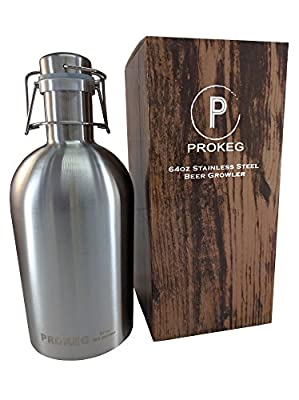 PROKEG - Stainless Steel Beer Growler 64oz 2L Flip Top Single Wall