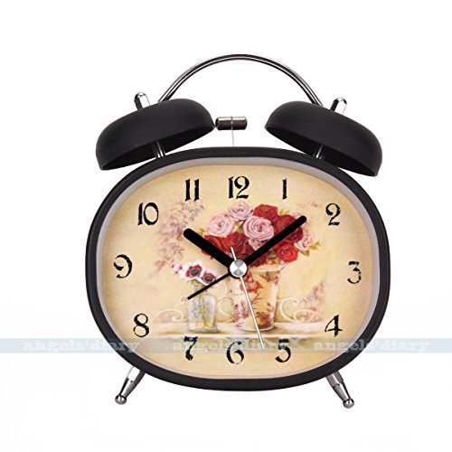 MAZIMARK--Vintage Metal Foral Alarm Clock Night Light Double Bell Home Kids Room Decor by MAZIMARK