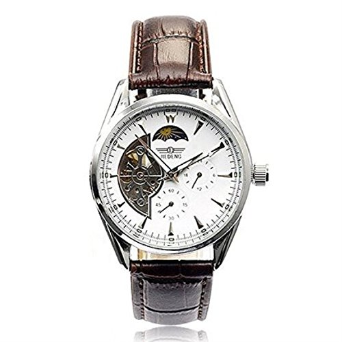 Men's Business Casual Fashion Hollow White Dial Mechanical Automatic Watch Leather Band Brown (World Mk Watch Map)