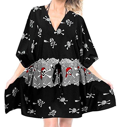 96dc08f89c LA LEELA Drunken Skull Printed Costume Cover up Black_I517 OSFM 14-28W [L-