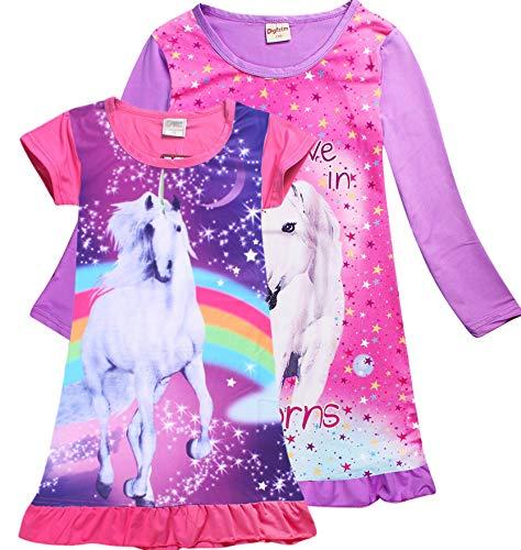 2-Piece Unicorn Mermaid Long & Short Sleeve Nightgown for Girls (1x Pink Short 1x Purple Long, 6-7 Years)