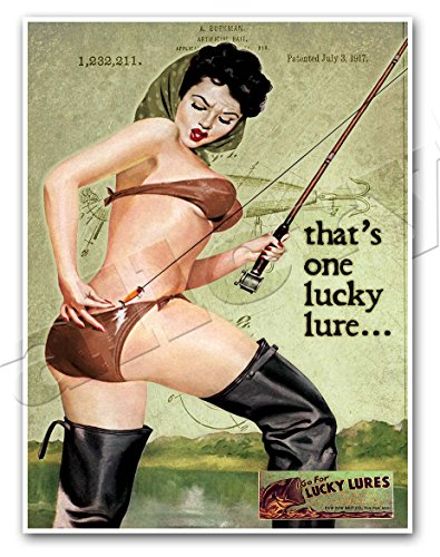 LUCKY LURES Vintage Fishing Advertisement Art Print PINUP GIRL Ad Poster - measures 36